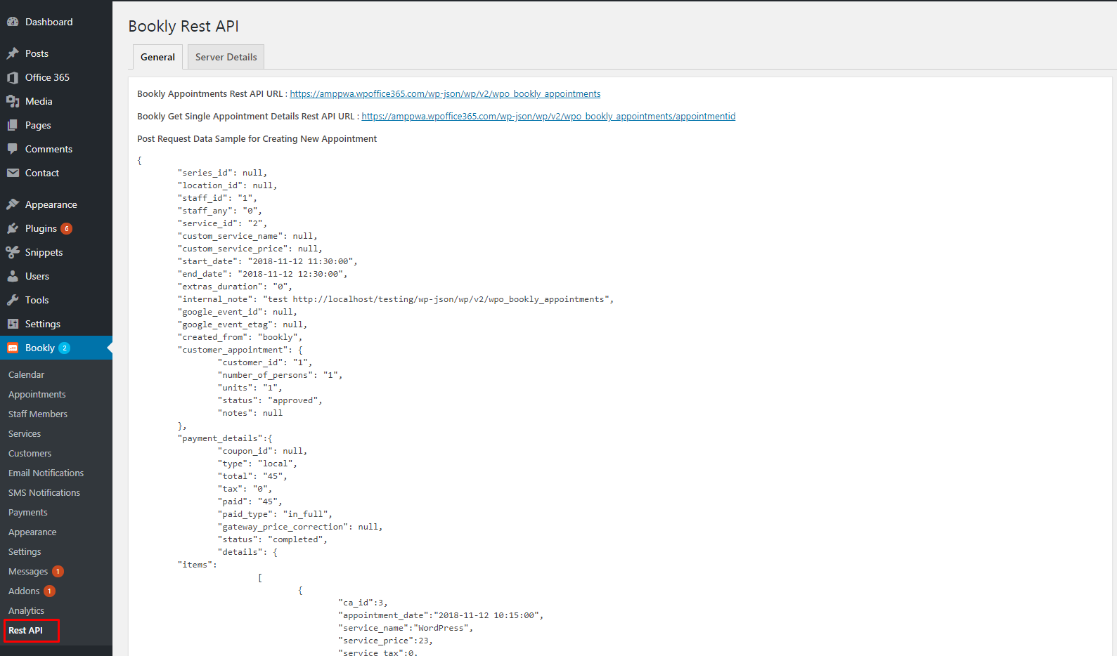 Bookly CRED Rest API Operations - Web Portals for Office 365